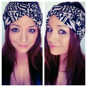 Black and cream geometric print turban