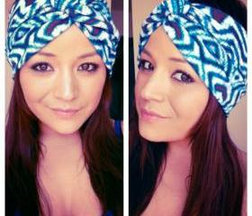 Electric blue tribal print turban