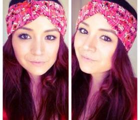 Pink and orange tribal print faux turban